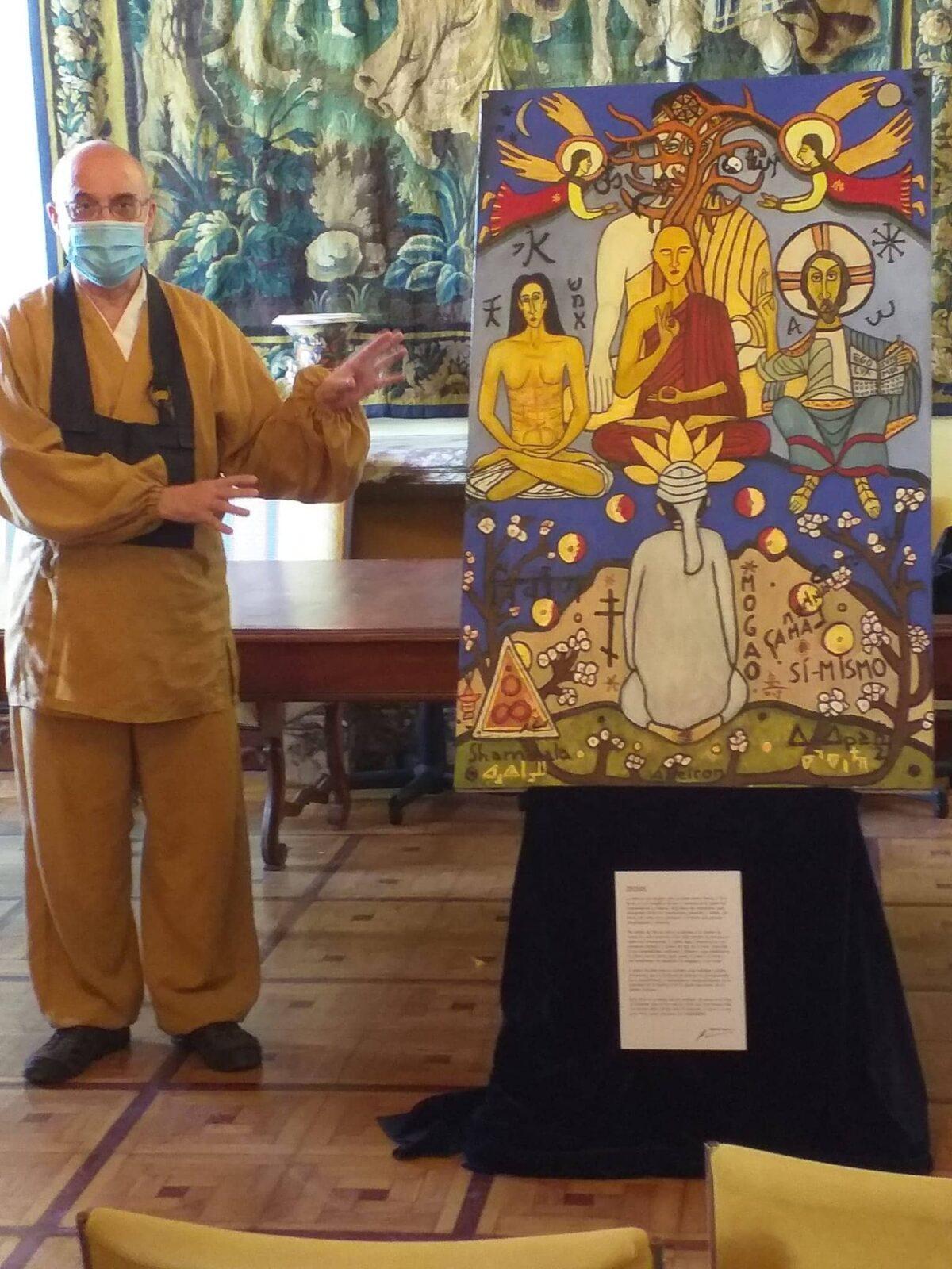 Sala de la Ruta de la Seda en el Palacio de Malferit. Líder del budismo Zen Aigo Seiga Castro